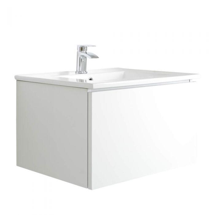 Mueble de Lavabo Mural Moderno de 600mm Color Blanco Opaco con Lavabo Integrado para Baño  - Newington