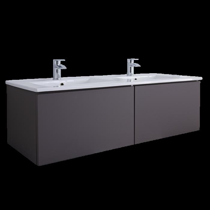 Mueble de Lavabo Mural Moderno de 1200mm Color Gris Opaco con Lavabo Doble Integrado para Baño - Newington