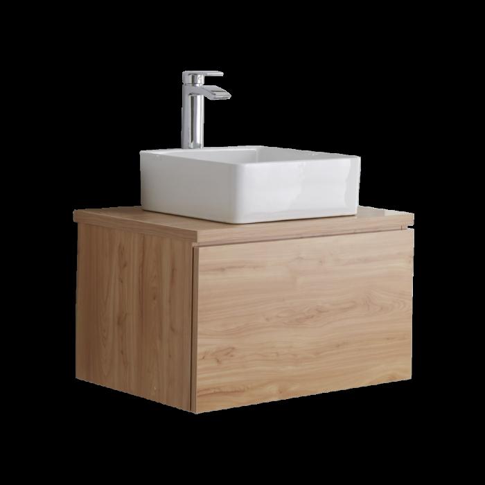Mueble de Lavabo Moderno de 600mm de Color Roble Dorado con Lavabo de Sobre Encimera para Baño  - Newington