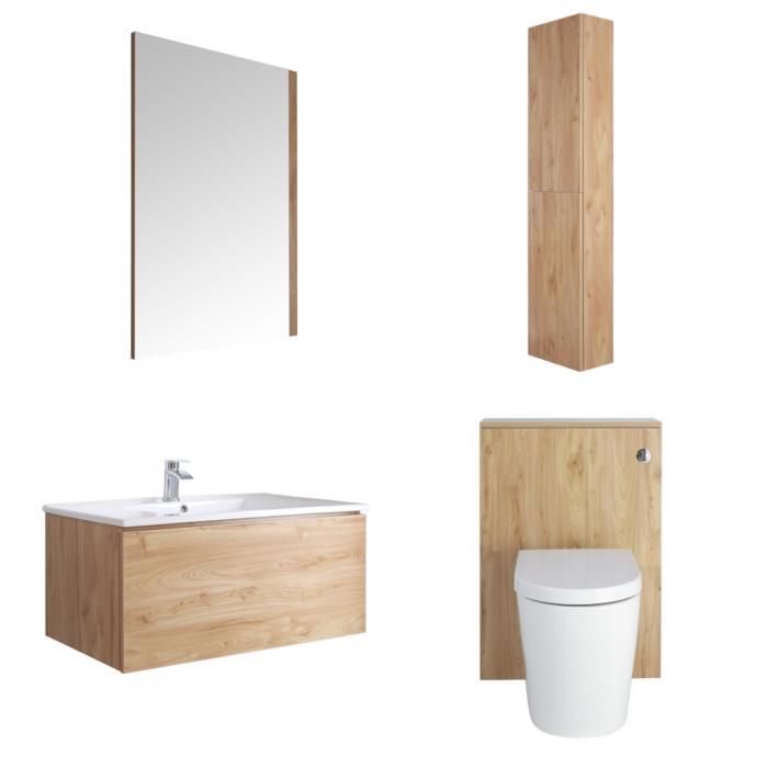 Mueble de Baño de 800mm Color Roble Dorado Completo con Cisterna, Inodoro con Lavabo, Armario de Pared y Espejo Disponible con Opción LED  - Newington