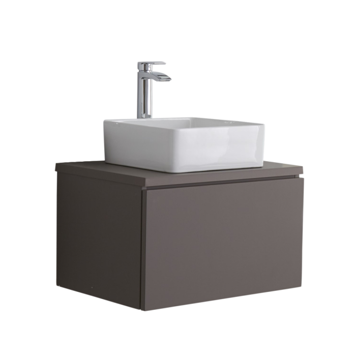 Mueble de Lavabo Moderno de 600mm de Color Gris Opaco con Lavabo de Sobre Encimera para Baño  - Newington