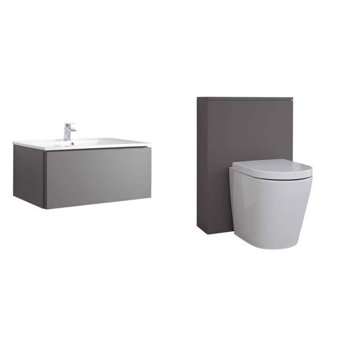 Mueble de Baño de 800mm Color Gris Opaco con Inodoro y Lavabo - Newington