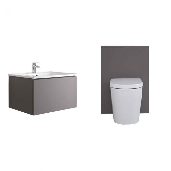 Mueble de Baño de 600mm Color Gris Opaco Completo con Cisterna, Inodoro y Lavabo - Newington