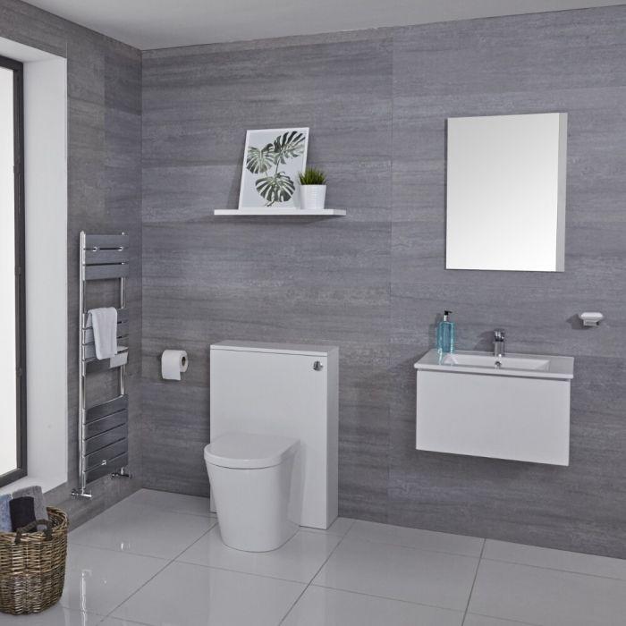 Mueble de Baño de 600mm Color Blanco Opaco con Inodoro y Placa de Accionamiento - Newington