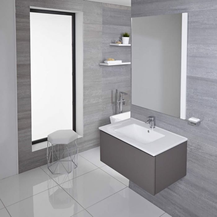 Mueble de Lavabo Mural Moderno de 800mm Color Gris Opaco con Lavabo Integrado para Baño Disponible con Opción LED- Newington