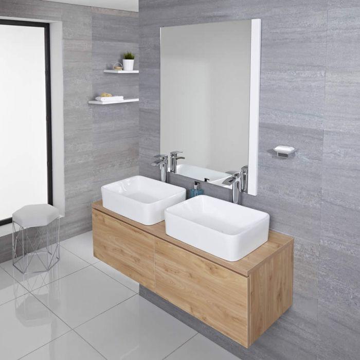 Mueble de Lavabo Mural Moderno de 1200mm Color Roble Dorado con Lavabo de Sobre Encimera Cuadrado Disponible con Opción LED - Newington