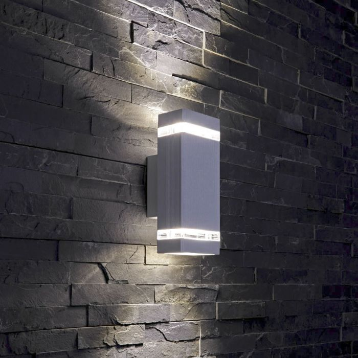 Biard Apliqué de Pared Exterior Bidireccional con Diseño Cúbico Architect Gris