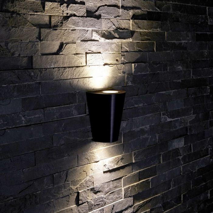 Biard Apliqué de Pared Exterior con Luz Descendente Diseño Cónico Color Negro