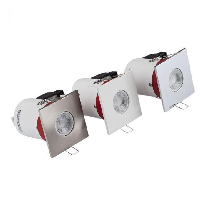 Biard Conjunto con 3 Focos Downlight Inclinables Empotrables de Techo Clasifícación Ignífuga GU10 con Bisel Cuadrado Disponible en 3 Colores