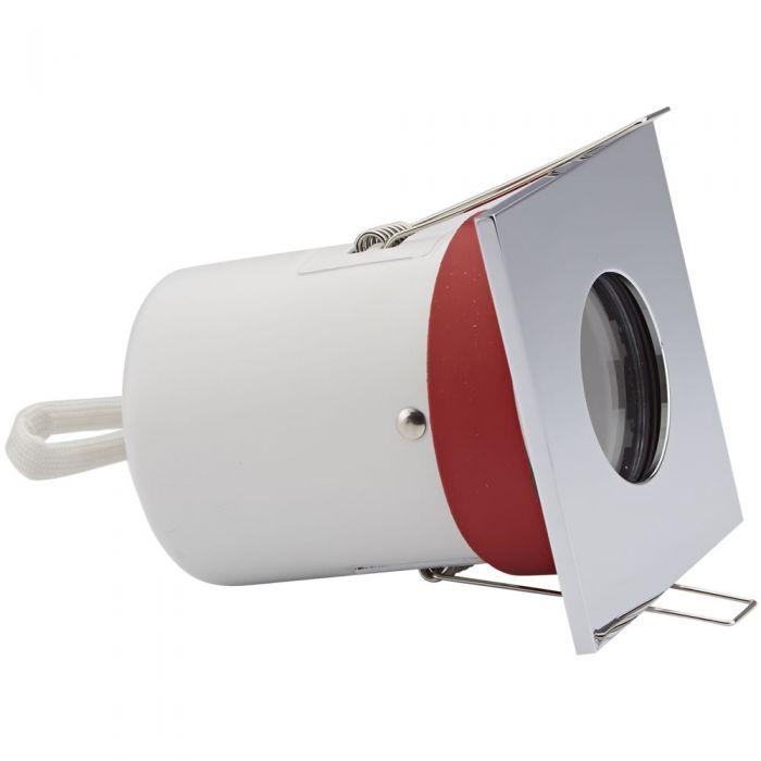 Foco Downlight Empotrable de Techo Clasifícación Ignífuga GU10 IP65 con Bisel Cuadrado Disponible en 3 Colores
