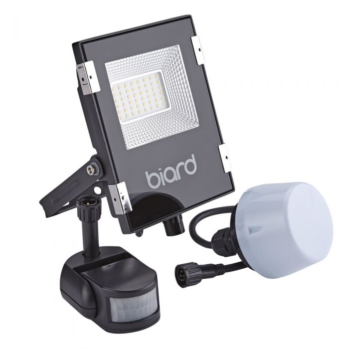 Biard Foco Proyector Plano Negro 20W con Opción entre Sensor PIR o Sensor Crepuscular