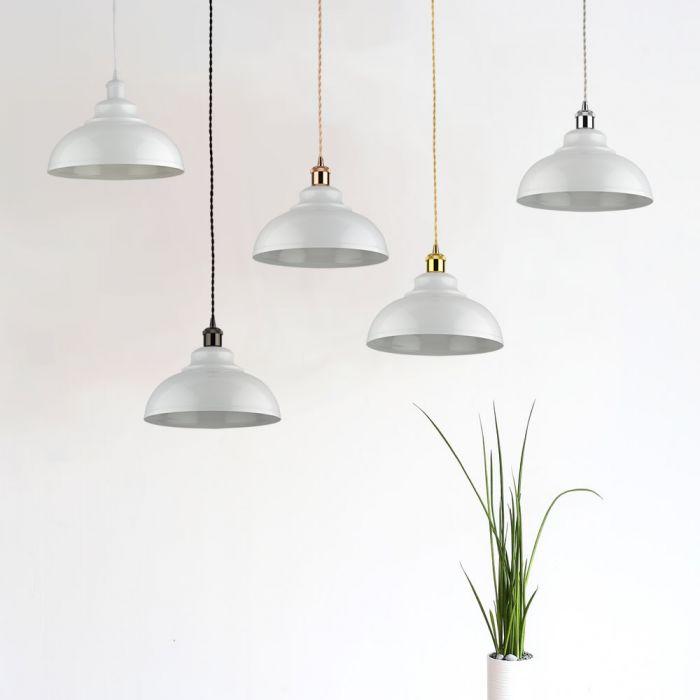 Lámpara de Techo de Suspensión Retro de Latón con Acabado de Color Blanco - Dalston