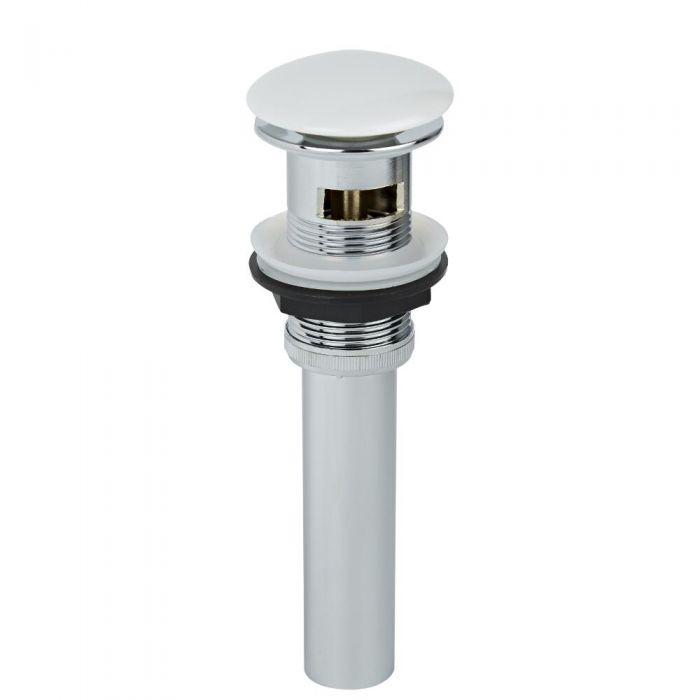 Válvula de Desagüe para Lavabo con Acabado Cromado y Blanco