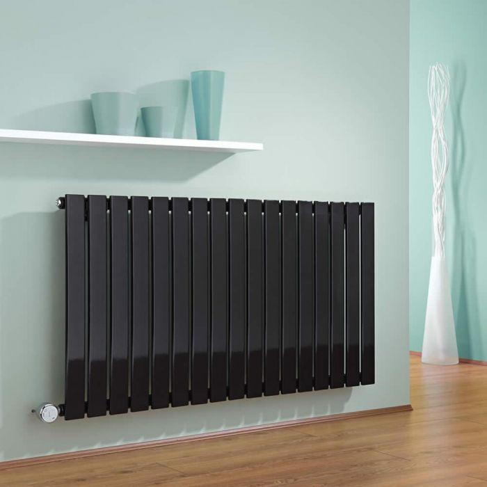 Radiador de Diseño Eléctrico Horizontal - Negro - 635mm x 1190mm x 46mm -  Elemento Termostático de 1000W  - Delta