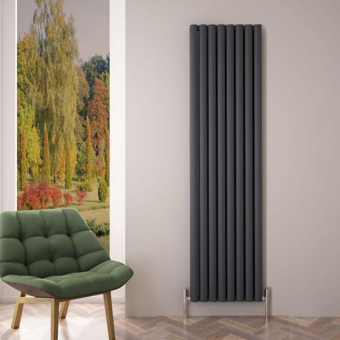 Radiador de Diseño Vertical Doble - Antracita - 1800mm x 470mm x 76mm - 2004 Vatios - Revive Air