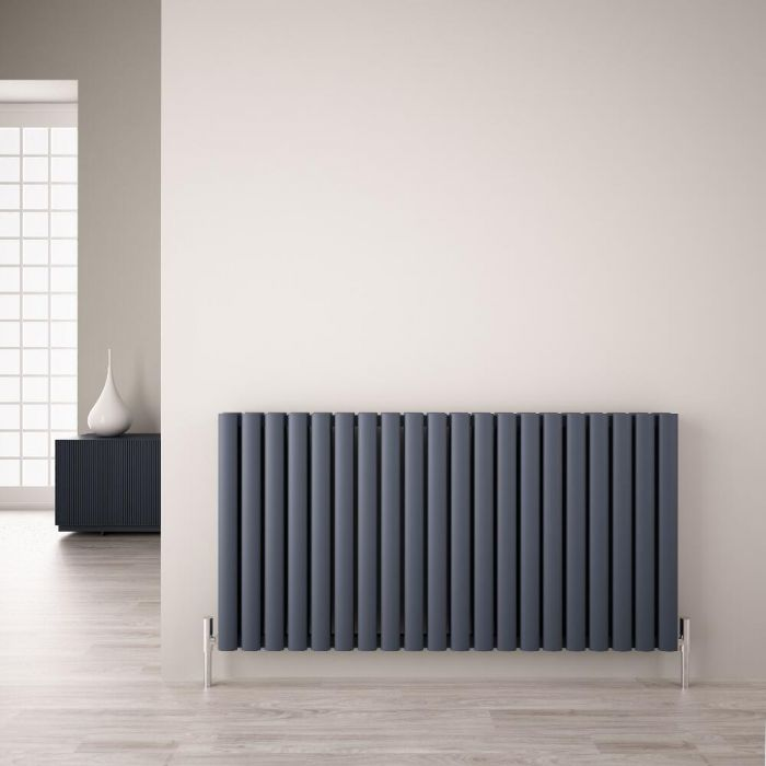 Radiador de Diseño Horizontal Doble - Antracita - 600mm x 1190mm x 76mm - 2298 Vatios - Revive Air