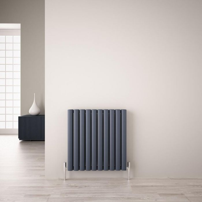 Radiador de Diseño Horizontal Doble - Antracita - 600mm x 590mm x 76mm - 1149 Vatios - Revive Air