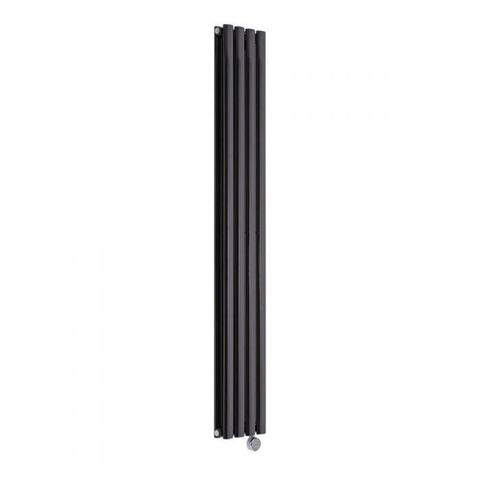 Radiador de Diseño Eléctrico Vertical Doble - Negro - 1600mm x 236mm x 78mm -  1 Elemento de 1200W  - Revive