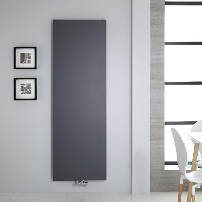 Radiador de Diseño Vertical - Panel Plano - Conexión Central - Antracita  - 1800mm x 600mm - 1404 Vatios - Rubi