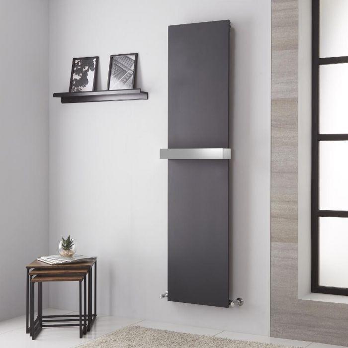 Radiador de Diseño Vertical - Panel Plano – Conexión Central - Antracita - 1800mm x 450mm - 1016 Vatios - Trevi