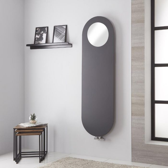 Radiador de Diseño Vertical - Panel Plano con Espejo - Conexión Central - Antracita - 1595mm x 490mm - 729 Vatios – Vulcano