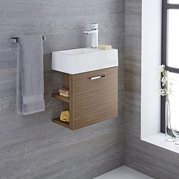 Mueble de Lavabo Suspendido con Acabado Color Efecto Roble 400x200x465mm con Lavabo Integrado - Langley