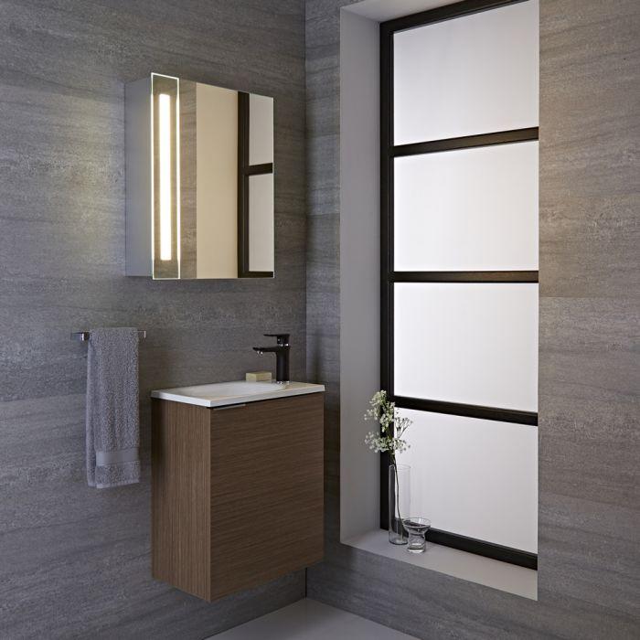 Armario con Espejo LED y Enchufe Integrado para Cuarto de Baño ...
