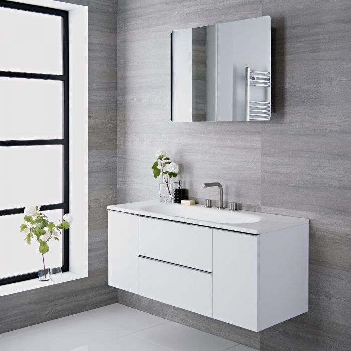 Mueble de Lavabo Suspendido con Acabado Color Blanco Lacado de 1200x480x520mm con Lavabo Integrado - Ranwick