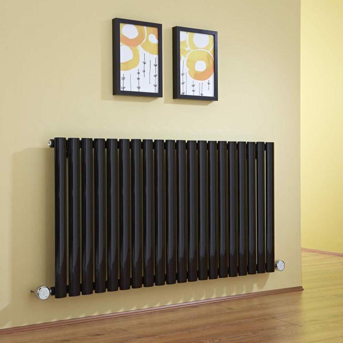 Radiador de Diseño Eléctrico Horizontal - Negro - 635mm x 1180mm x 56mm -  2 Elementos de 800W  - Revive