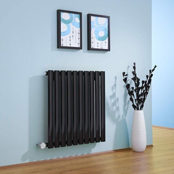 Radiador de Diseño Eléctrico Horizontal - Negro - 635mm x 595mm x 55mm -  Elemento Termostático de 600W  - Revive
