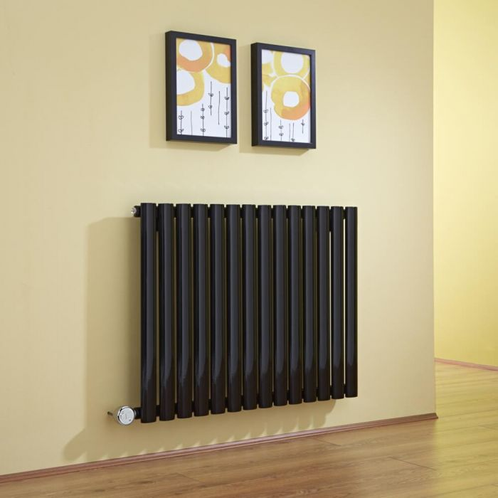 Radiador de Diseño Eléctrico Horizontal - Negro - 635mm x 834mm x 56mm -  Elemento Termostático de 1000W  - Revive
