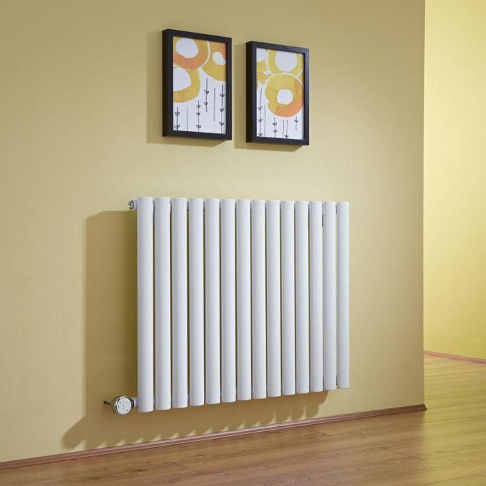 Radiador de Diseño Eléctrico Horizontal - Blanco - 635mm x 834mm x 56mm -  Elemento Termostático de 1000W  - Revive