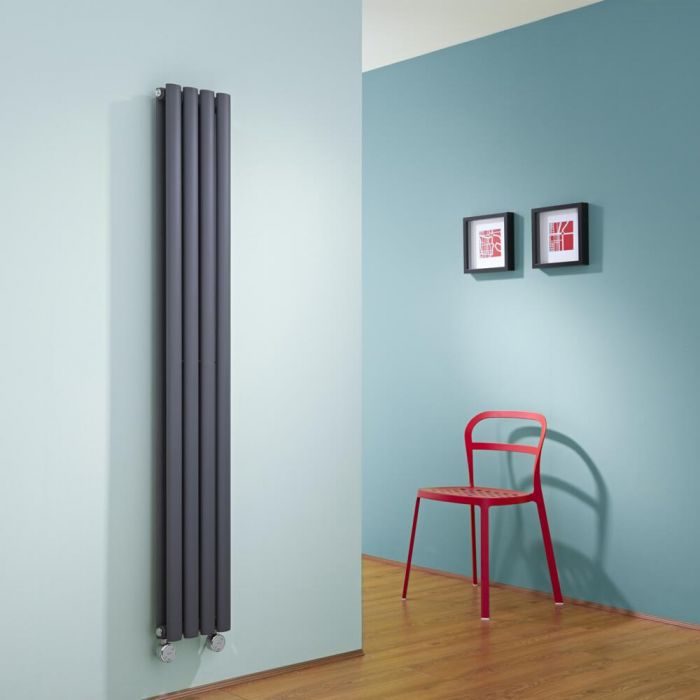 Radiador de Diseño Eléctrico Vertical Doble - Antracita - 1600mm x 236mm x 78mm -  1 Elemento de 1200W  - Revive