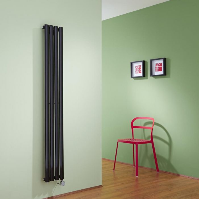 Radiador de Diseño Eléctrico Vertical - Negro - 1600mm x 236mm x 56mm -  Elemento Termostático de 800W  - Revive