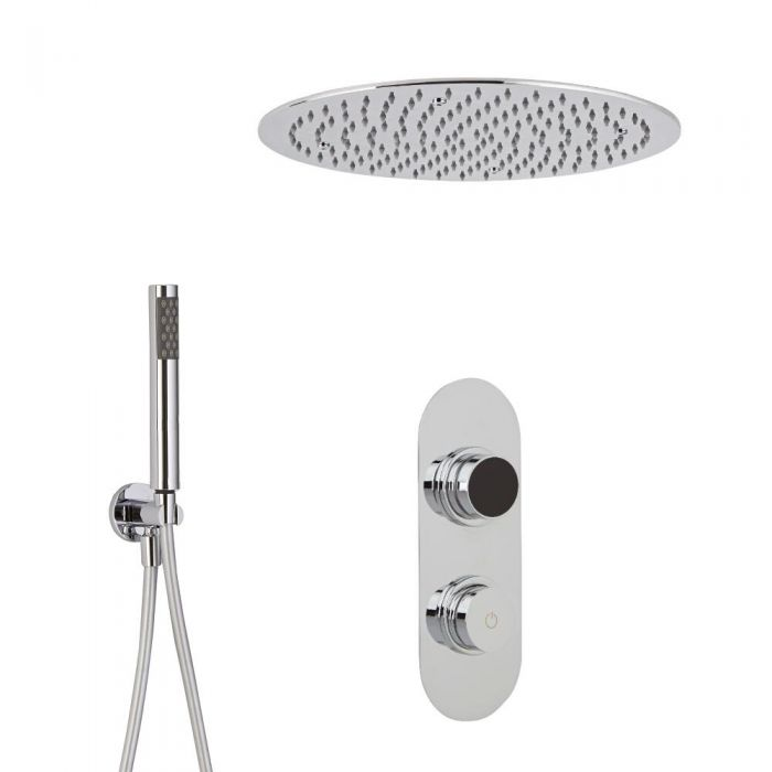 Ducha Digital con Sistema de Control de 2 Salidas con Alcachofa de Ducha Redonda Empotrable y Telefonillo de Ducha