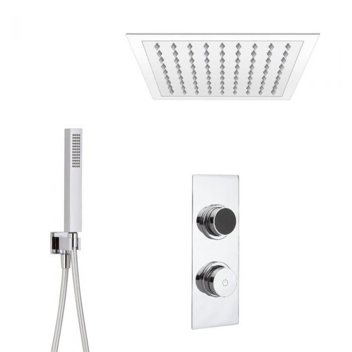 Ducha Digital con Sistema de Control de 2 Salidas con Alcachofa de Ducha Cuadrada  Empotrable de 280x280mm y Telefonillo de Ducha