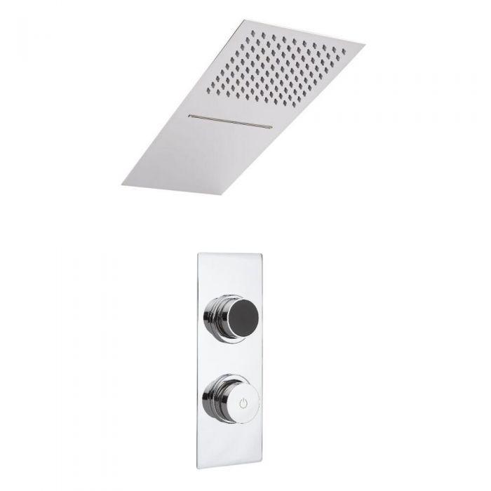 Ducha Digital con Sistema de Control de 2 Salidas con Alcachofa de Ducha Efecto Lluvia o Cascada y Telefonillo de Ducha