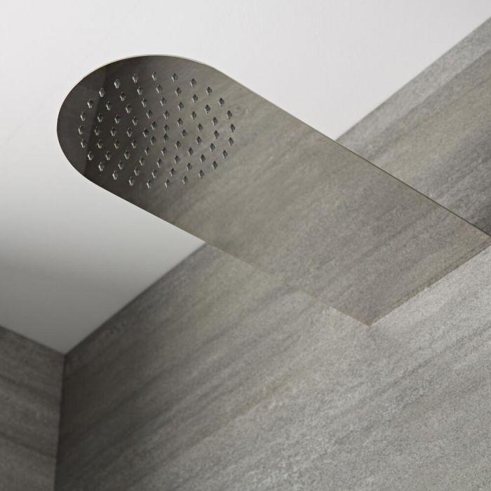Alcachofa de Redonda Mural Plana Realizada en Acero Inoxidable de 200x500mm con Brazo de Ducha Integrado - Mirage