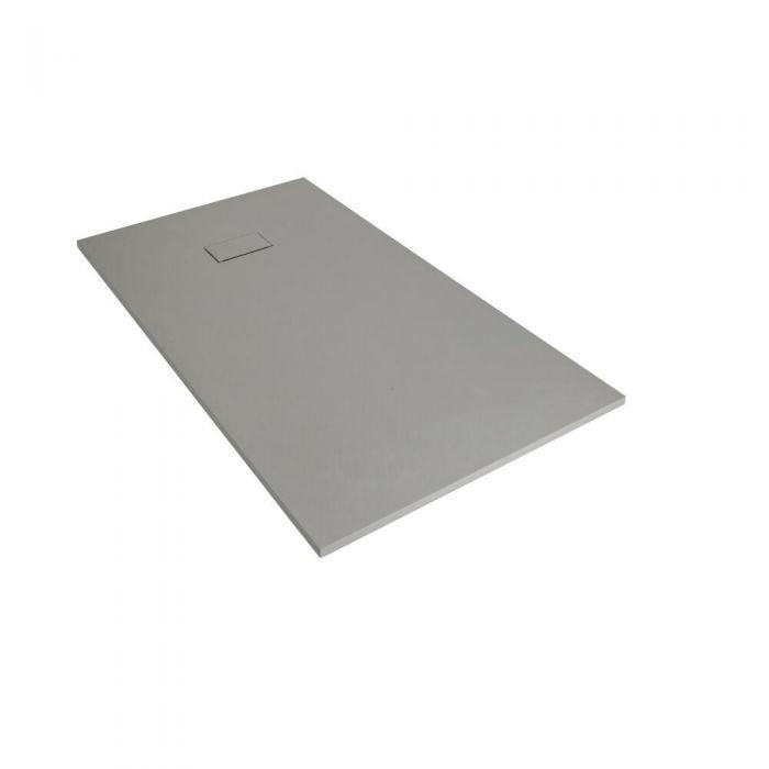 Plato de Ducha Rectangular Efecto Piedra de Color Gris Claro de 900x800mm