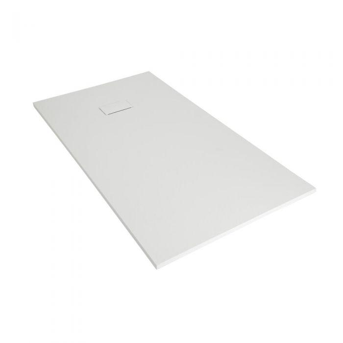 Plato de Ducha Rectangular Efecto Piedra de Color Blanco Opaco de 900x800mm