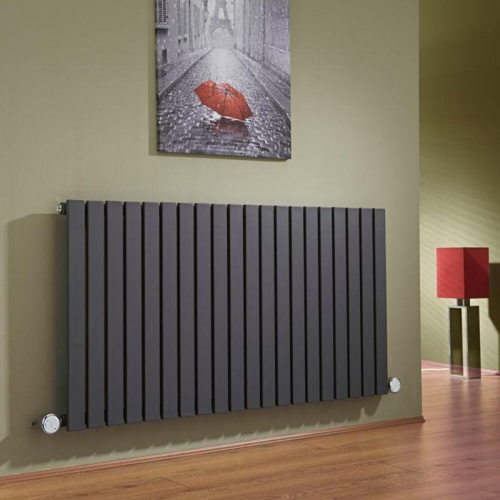 Radiador de Diseño Eléctrico Horizontal - Antracita - 635mm x 1180mm x 53mm -  2 Elementos de 600W  - Sloane