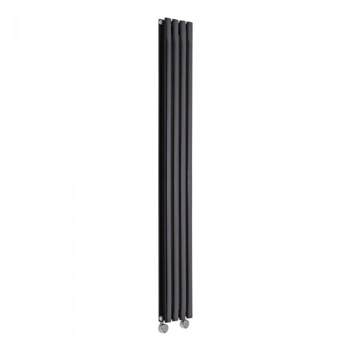 Radiador de Diseño Eléctrico Vertical Doble - Negro - 1780mm x 236mm x 78mm - 1 Elemento de 1200W  - Revive