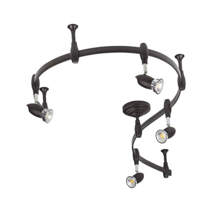 Biard Kit Completo con Rail Flexible Negro de 2m y 4 Focos LED de Carril - Forio