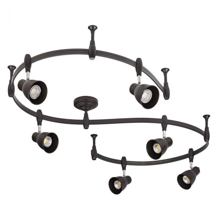 Biard Kit Completo con Rail Flexible Negro de 3m y 6 Focos LED de Carril - Panza