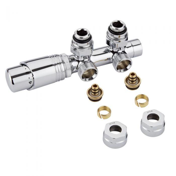 """Llaves Angulares Cromadas para Radiador y Toallero de 3/4"""" con  Cabezal Termostático Cromado y Adaptadores para Tubos Pex o Multicapa de 14mm - Multiblock H"""