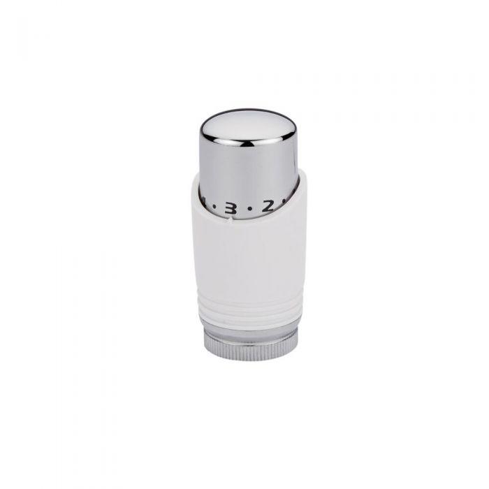Cabezal Termostático Blanco y Cromado para Tubos de Cobre de 15mm