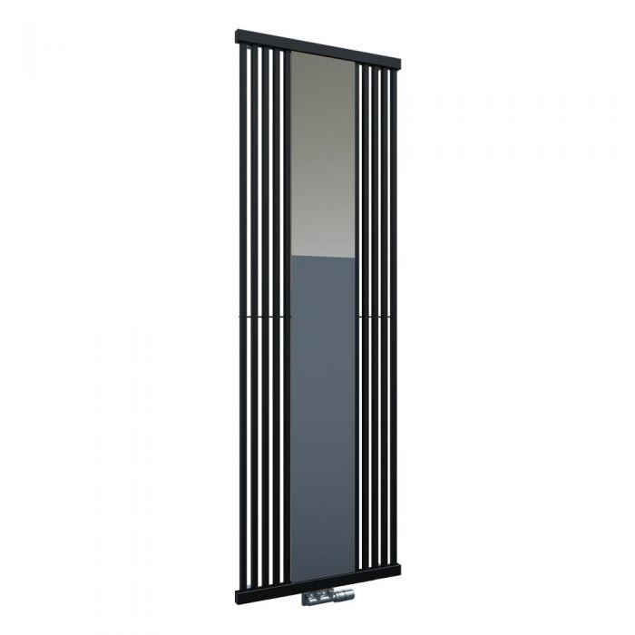 Radiador de Diseño Vertical Con Conexión Central - Con Espejo - Negro - 1900mm x 640mm x 60mm - 1261 Vatios - Lublin