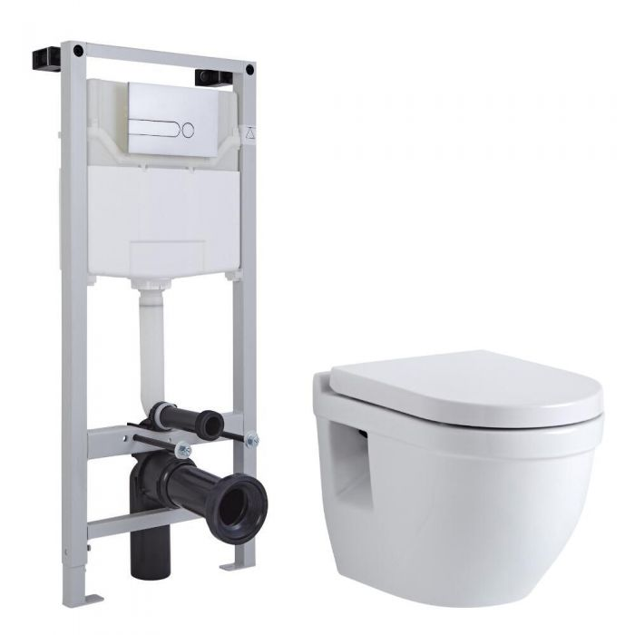 Inodoro Oval Suspendido 400x360x515mm Completo con Estructura Empotrable,Tapa Soft Close, Cisterna y Placa de Descarga - Newby