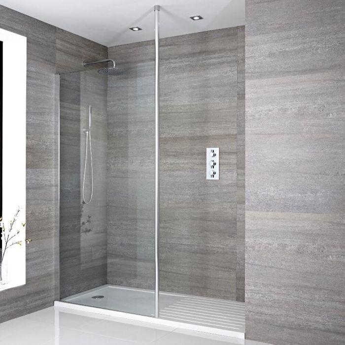 Mampara para ducha de obra con hoja fija de 1400x900mm con for Ducha de techo
