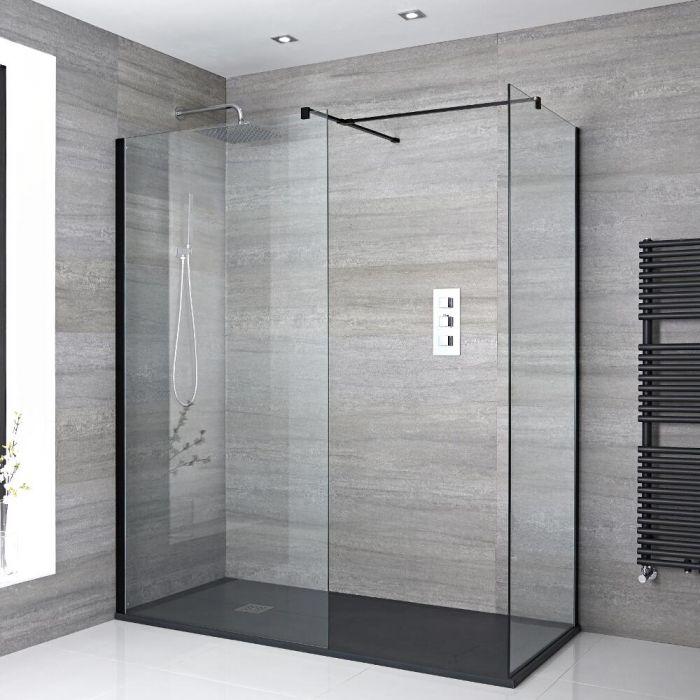 Mampara para Ducha de Obra de 1400x800mm con 2 Hojas de Vidrio Fijas, Plato de Ducha de Color Antracita y Perfilería Negra